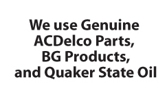 JR's Auto Repair in Naples FL uses genuine ACDelco parts, BG products, and Quaker State oil.